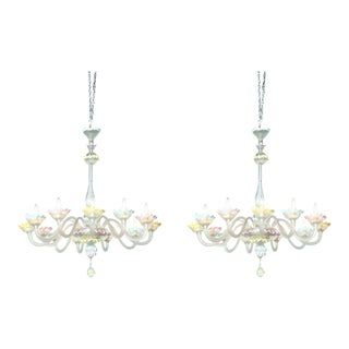 Fine Pair of Murano Glass Twelve-Light Chandeliers, 1950s, Italy