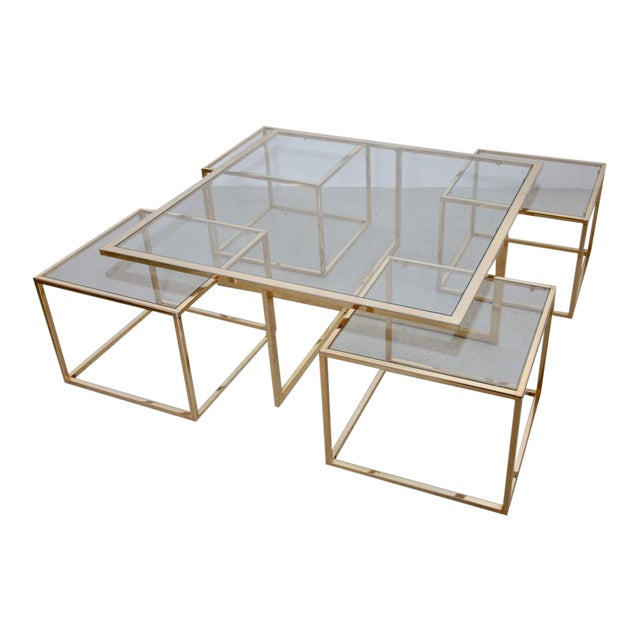 Huge Coffee Table in Brass with Four Nesting Tables by Maison Charles - Image 1 of 6