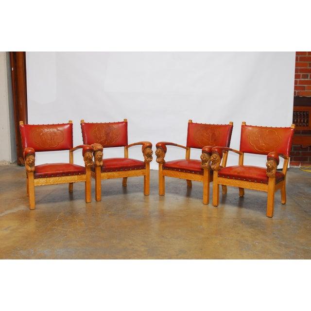 Image of Norwegian Folk Art Leather Armchairs - Set of 4