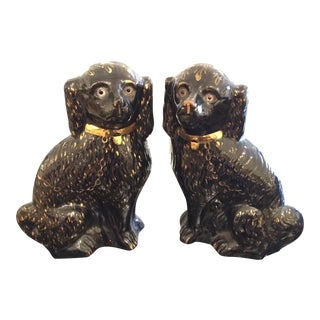 Antique Large Black & Gold Staffordshire Spaniels - Pair