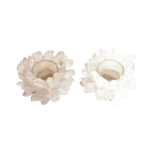 Natural Quartz Crystal Votive Holders - A Pair
