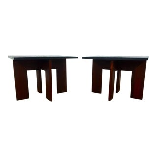 Adrian Pearsall Walnut & Slate End Tables - A Pair