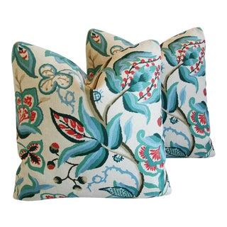 Schumacher Alexandra Floral Velvet Pillows - a Pair
