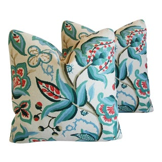 Schumacher Alexandra Floral Velvet Pillows - a Pair