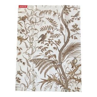 "Brunschwig & Fils Iconic ""Bird and Thistle"" Pattern Wallpaper in Beige Colorway"