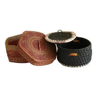 Natural Woven Boho Basket Boxes - A Pair