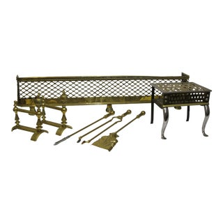 Brass Lattice Fireplace Set