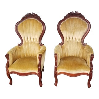 Antique Yellow Velvet Chairs - A Pair