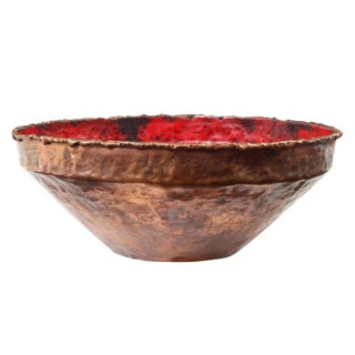 Marcello Fantoni Red Enamel & Copper Bowl