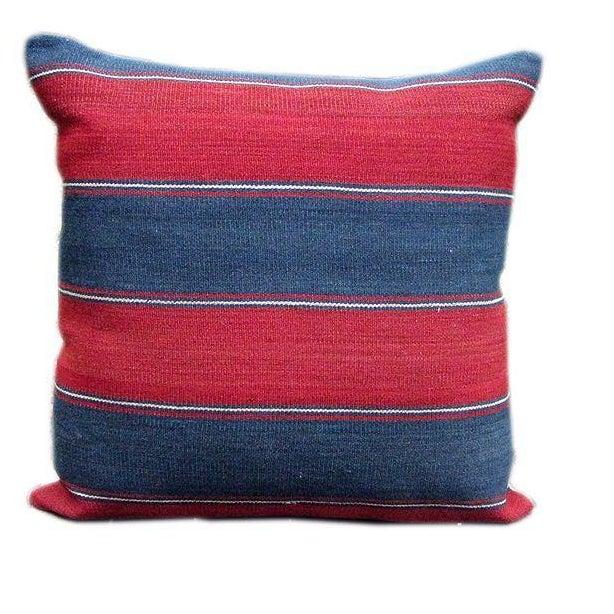 Caucasus 19th C. Blue & Red Striped Kilim Pillow - Image 1 of 2