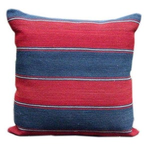Caucasus 19th C. Blue & Red Striped Kilim Pillow