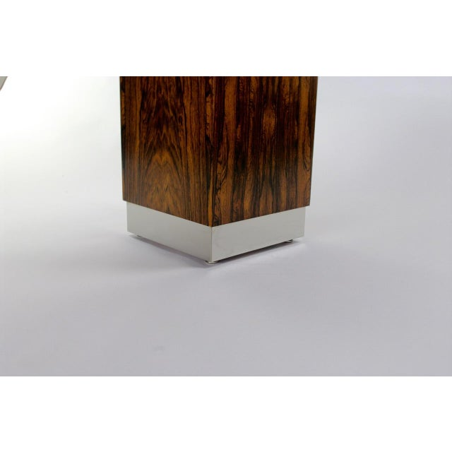 Rosewood & Chrome Pedestal Console - Image 11 of 11