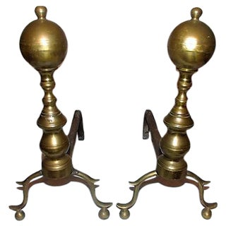 Federal Period Brass Andirons - A Pair