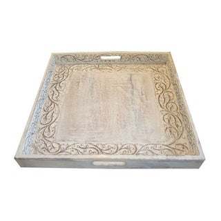 Whitewashed Hand Carved Tray