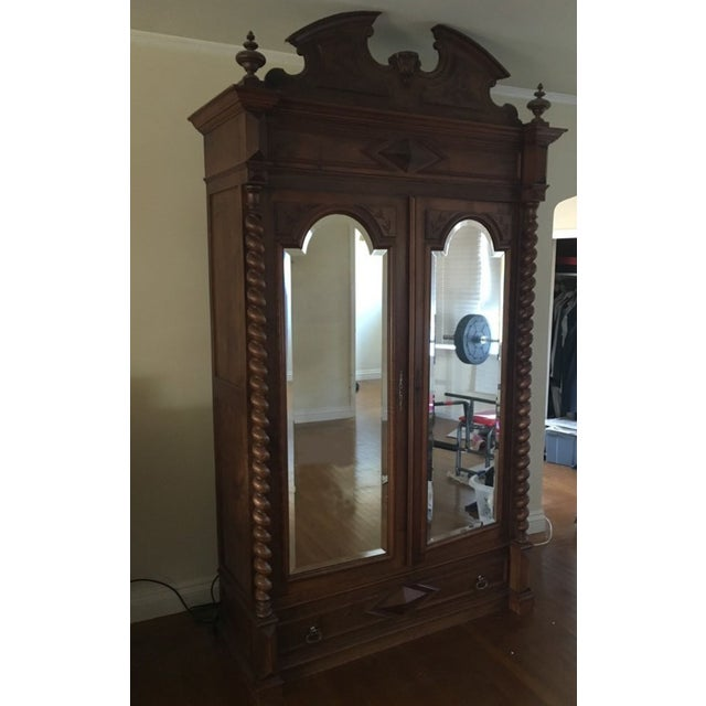 Rococo Revival Style Mahogany Mirrored Armoire - Image 3 of 10