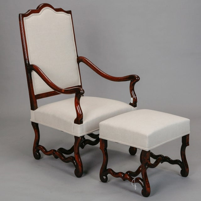 Os de mouton arm chair with matching footstool chairish for Matching arm chairs