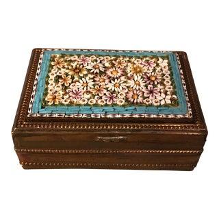 Antique Italian Micro Mosaic Floral Trinket Box