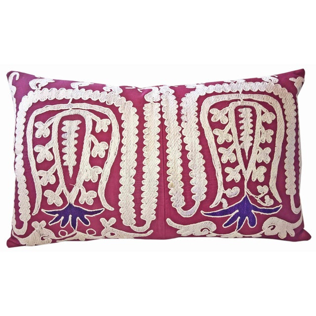 87 Year Old Vintage Hand Embroidered Samarkand Pillow - Image 5 of 5