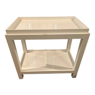 Jonathan Adler White Lacquer Dry Bar Cart Table