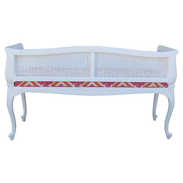 French Caned Satin White Settee - Image 3 of 7