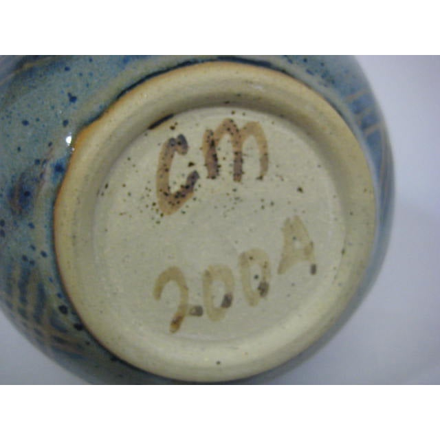 Blue Double Handle Art Pottery Vase - Image 7 of 8