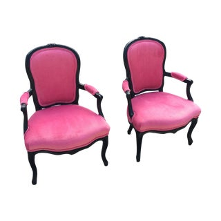 Black & Pink Louis XIV Sitting Chairs - Pair