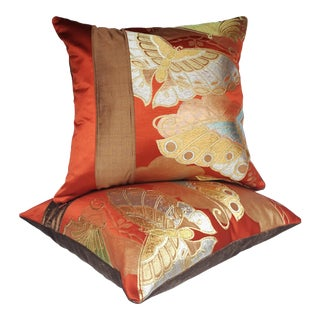 Brown & Rust Vintage Japanese Woven Silk Butterflies Velvet Pillows - A Pair