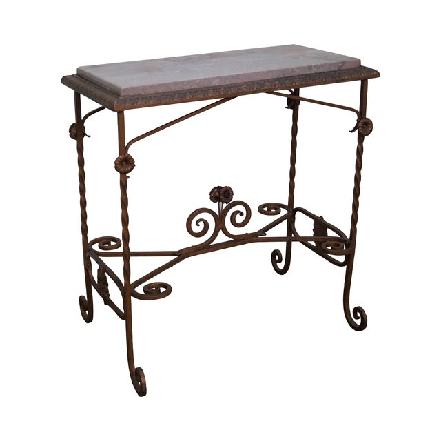 Antique wrought iron marble top side table chairish for Wrought iron side table base
