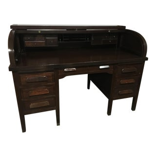 Vintage Mahogany Roll Top Desk
