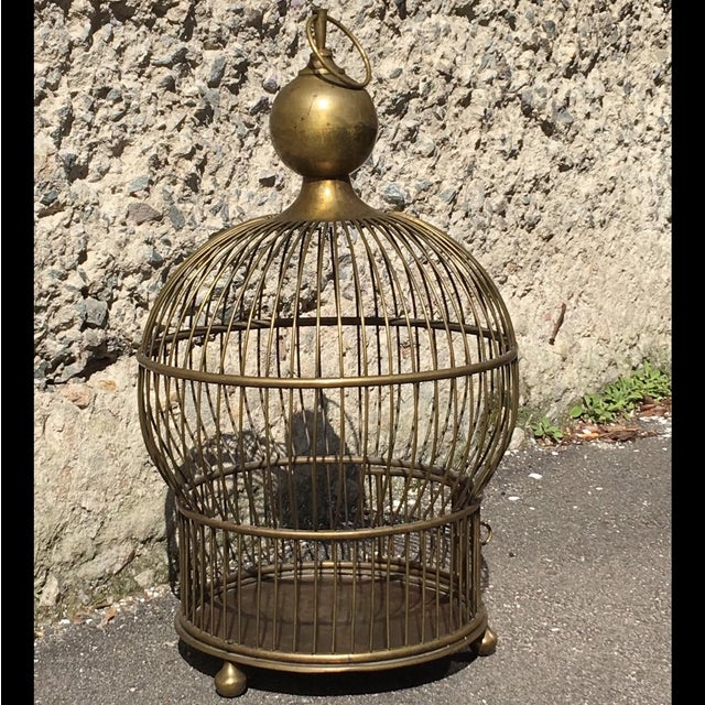 1940's Large Brass Bird Cage - Image 3 of 5