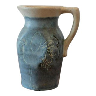Mid-Century Puerto Rican Pottery Blue Studio Pottery Pitcher