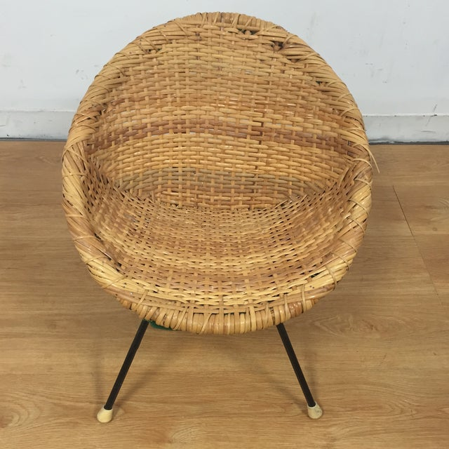 Wicker and Wrought Iron Child's Chair - Image 3 of 11