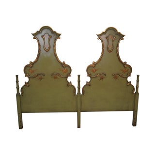 Vintage French Louis XV Double High Back Painted King Size Headboard