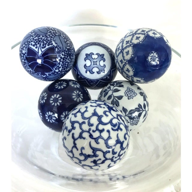 Vintage Blue Amp White Porcelain Balls Set Of 6 Chairish