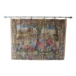 Vintage Belgian Wool Wall Tapestry with Hanging Bar