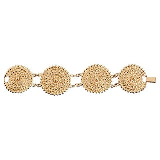Goldtone Disc Linked Bracelet