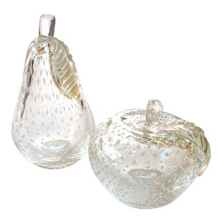 Beautifully Crafted Murano 1950s Clear Glass Apple and Pear, Barbini Sommerso