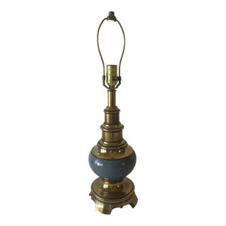 MCM Stiffel Painted Brass Lamp - BLUE