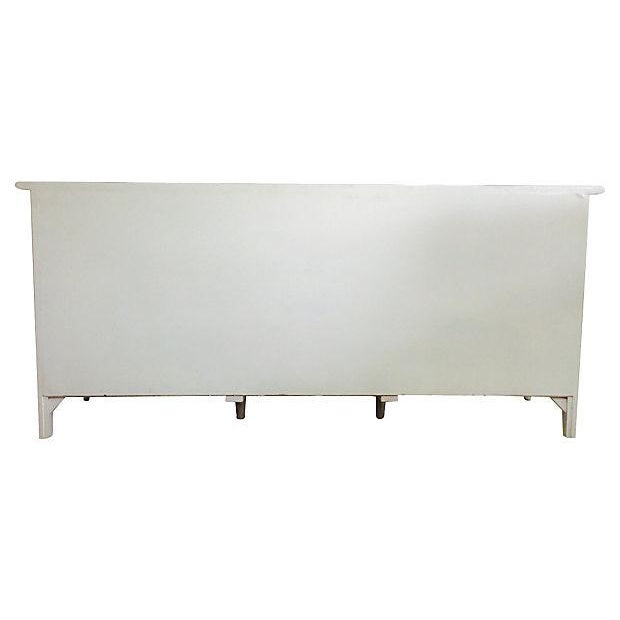 Image of Vintage 1960s Mint & White Faux-Bamboo Credenza