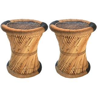 Blue & Natural Moray Accent Stools - A Pair