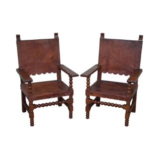 Vintage Spanish Colonial Leather Arm Chairs - A Pair