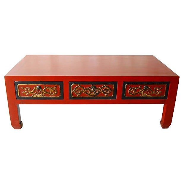 Red Lacquer Wood Coffee Table - Image 1 of 5