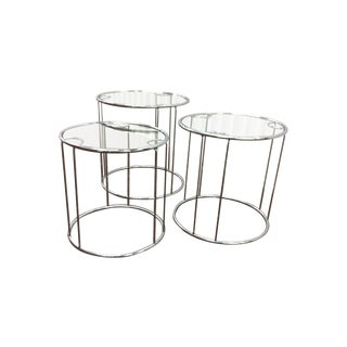 Modern Chrome Stacking Side Tables - Set of 3