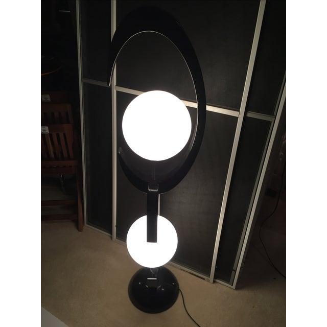 Image of Mid-Century Black & White Globe Lamp