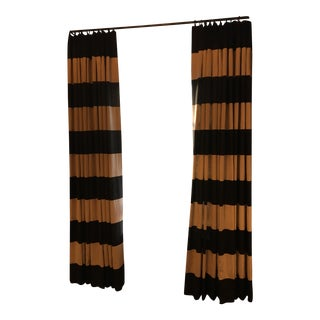 Striped Linen Custom Drapery Panels - A Pair