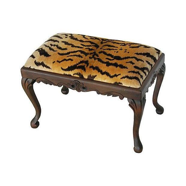 Vintage Scalamandre Le Tigre Silk Velvet Bench - Image 1 of 8