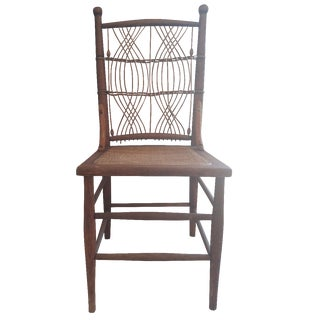 Antique Rush Cane Seat Side Chair