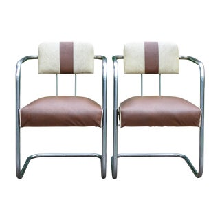 Art Deco Chrome Cantilevered Chairs - A Pair