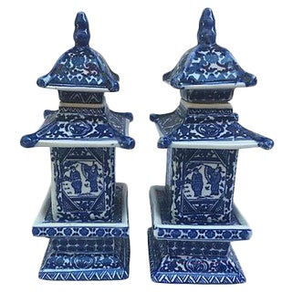 Chinese Blue & White Pagoda Vases - a Pair