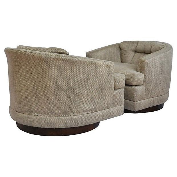 Image of 1970s Barrel Swivel Chairs - Pair